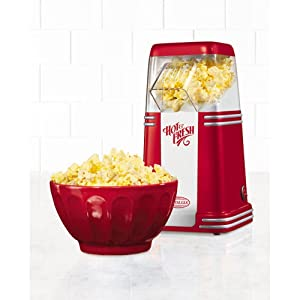 Hot Air Popcorn Maker, Nostalgia '50s-Style, Table-Top, Red