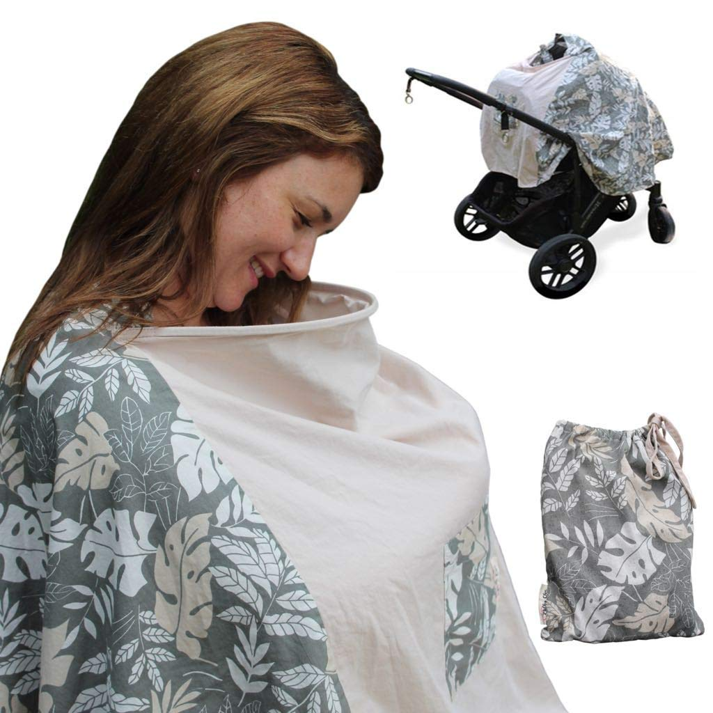 The New Full Coverage 360 Nursing Poncho I Nursing Cover for Breastfeeding I Nursing Cover with Wire I 100% Breathable Lightweight Cotton I Multi-use Breastfeeding Cover I Best Baby Shower Gift Milky Chic