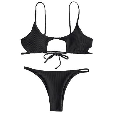 2e147f3042 Amazon.com  ZAFUL Womens Sexy Spaghetti Strap Hollow Out Braided Ribbed  Cutout Bikini Sets  Clothing