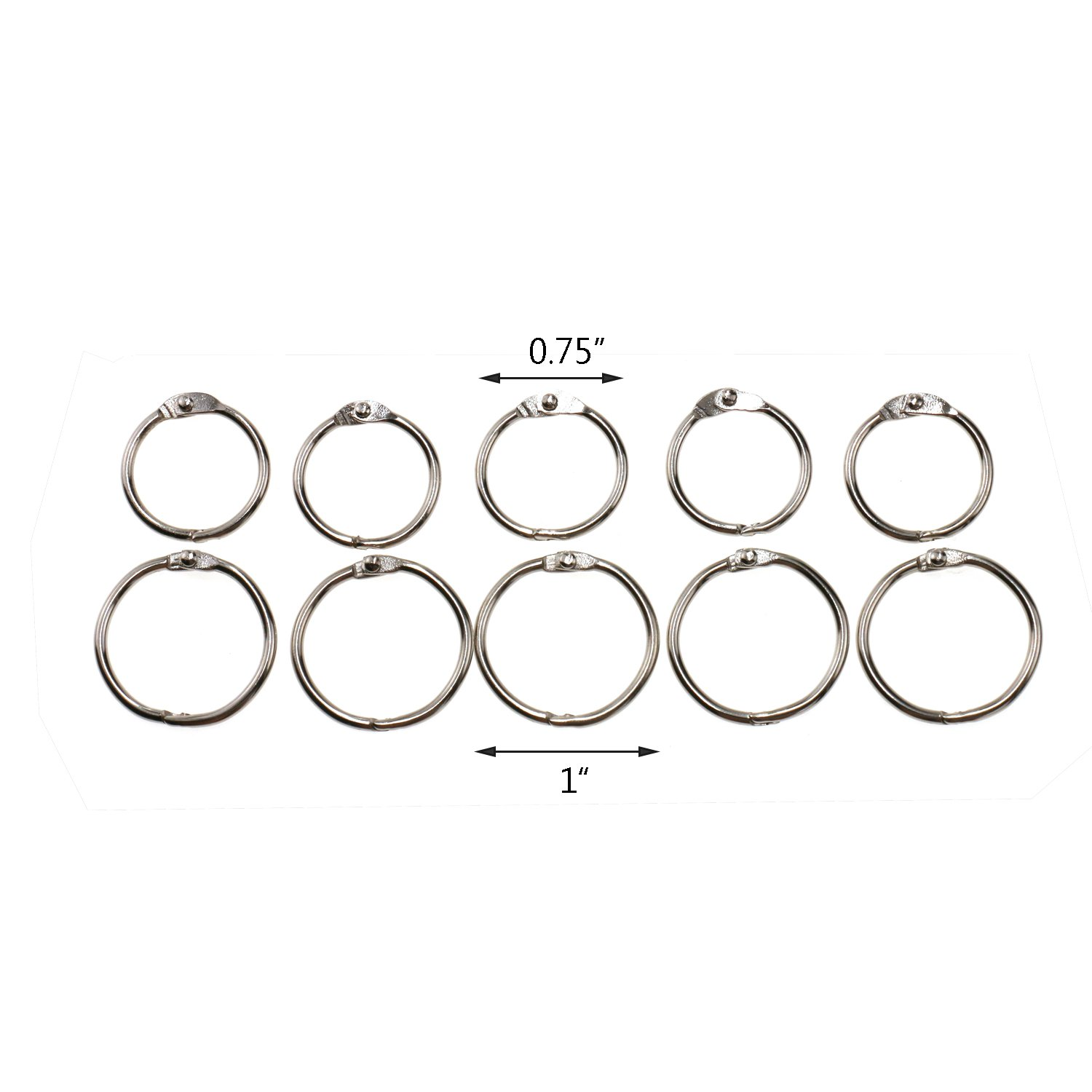 Regpre Loose Leaf Binder Rings 3/4 Inch Binder Rings 0.75 and 1 Inch Binder Rings Set of 100 and Single Hole Punch by Regpre (Image #2)