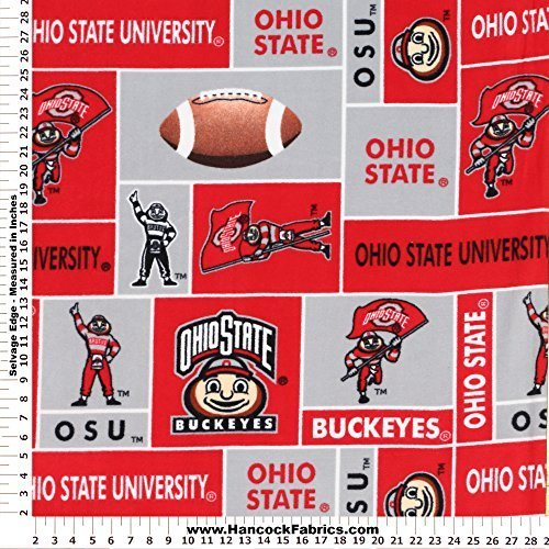 (Ohio State University Polyester Fleece Fabric, Scarlet & Gray - Sold By the Yard)