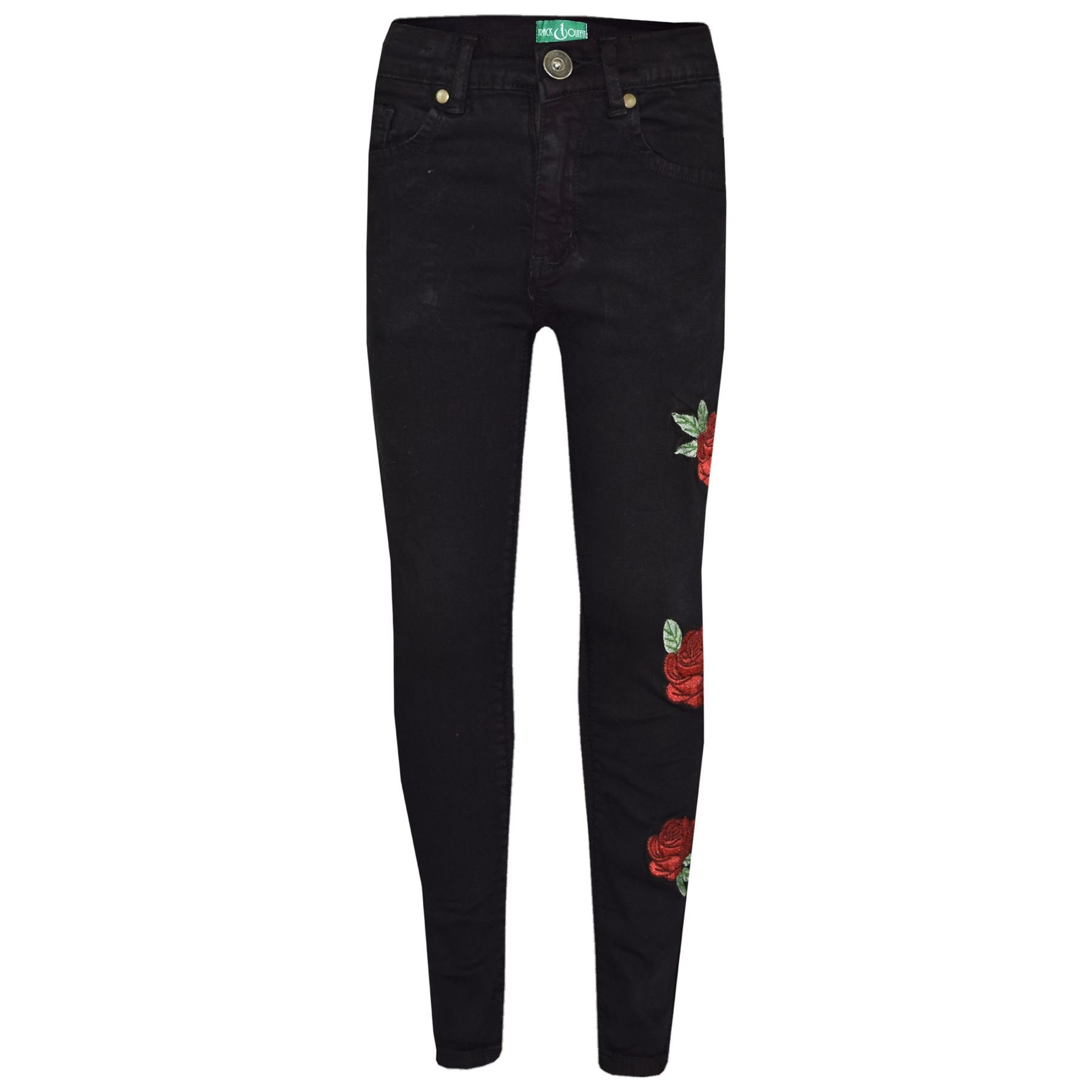 Girls Stretchy Jeans Kids Rose Print Denim Pants Trousers Jeggings 5-13 Years