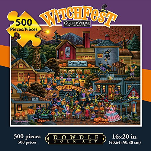 Jigsaw Puzzle - Gardner Village Witchfest 500 Pc By Dowdle Folk Art