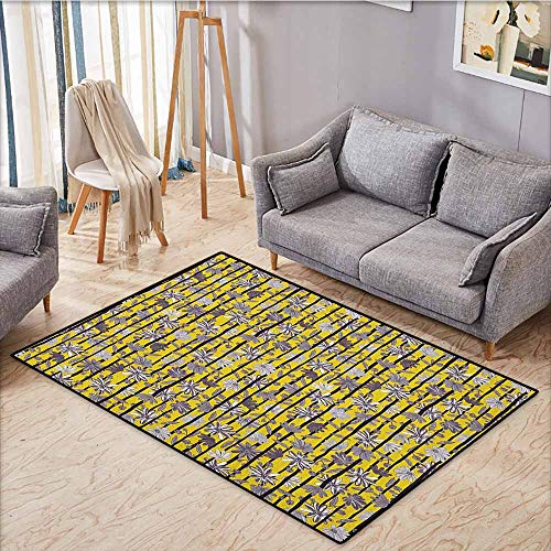 - Indoor/Outdoor Rug,Tropical,Exotic Toned Flourishing Lily Blossoms with Stem Bars Caribbean Pattern,Super Absorbs Mud,4'11