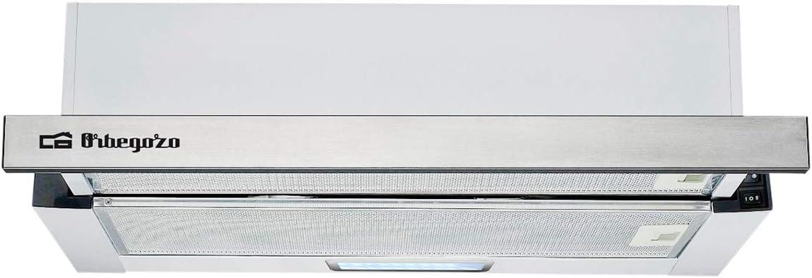 Orbegozo TL 07160 IN - Campana extractora telescópica 60cm, capacidad de extracción 308,2 m3/h, 3 niveles de potencia, 2 filtros de aluminio desmontables, iluminación LED: Amazon.es: Hogar