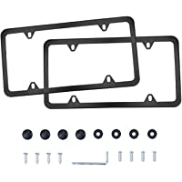 LivTee 4 Holes Stainless Steel License Plate Frames, 2 PCS Car Licence Plate Covers Slim Design with Bolts Washer Caps…
