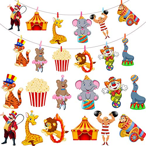 24 Pieces Carnival Cutouts Party Supplies, Circus Theme Birthday Party Favors Circus Animals, Clown Performers Carnival Party Decoration with 30 Color Clips -