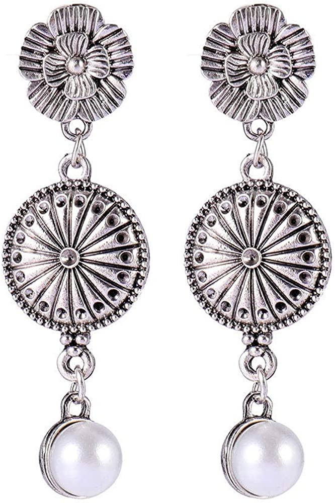 Y-modo Pendientes De Perlas De Mujer Anillo Pendientes De Flores Aleación Retro Pendientes De Botón Antialérgicos