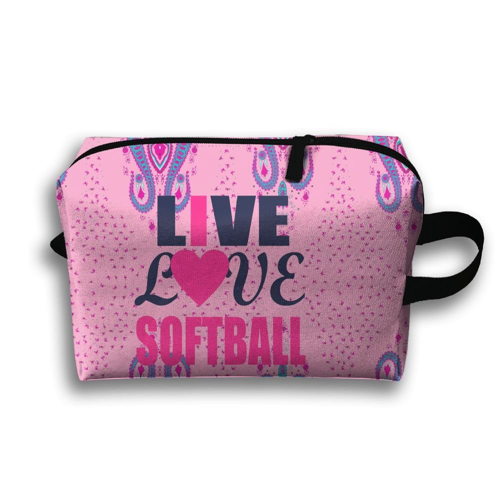 Live Love Softball Travel Bag Multifunction Portable Toiletry Bag Organizer Storage