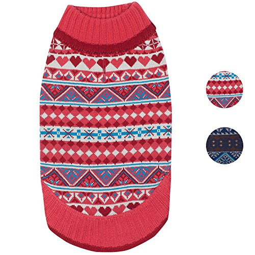 Fair Isle Heart (Blueberry Pet 2 Patterns Holiday Charm Fair Isle Style Sugar Coral Pullover Dog Sweater with Valentine Heart, Back Length 14