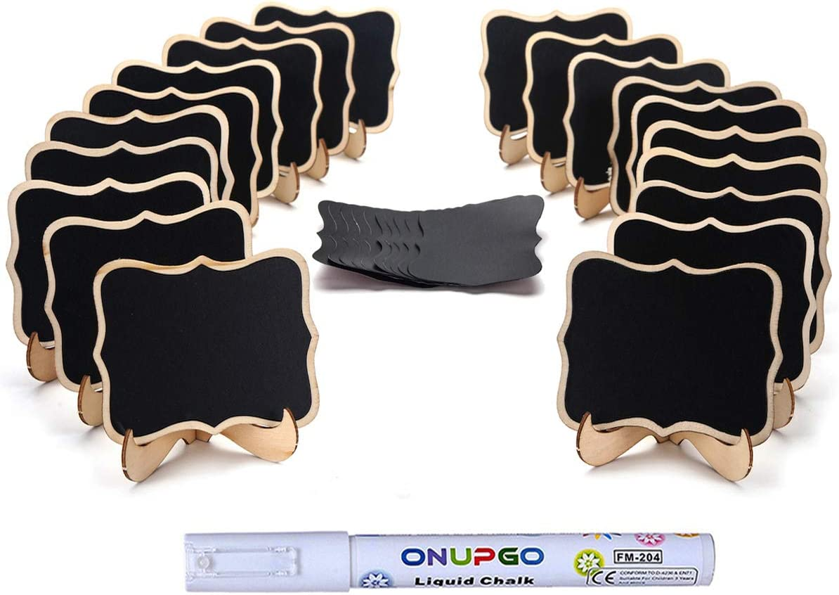 ONUPGO 20 Pack Mini Chalkboards Signs with 1 Liquid Chalk Marker, Small Wooden Chalkboard Labels with Support Easels, Place Cards Food Signs Blackboards for Table Numbers, Weddings, Party Decoration