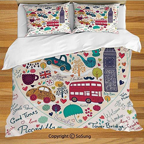 (SoSung London Queen Size Bedding Duvet Cover Set,Colorful Symbols Red Bus Big Ben Tea Umbrella Hat Retro Black Cabin in a Heart Print Decorative 3 Piece Bedding Set with 2 Pillow Shams,Multicolor)