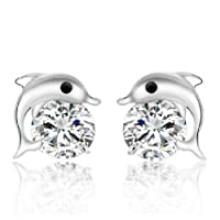 Westeng Earrings Women Zircon Jewelry Sparkling Silver Stud Earrings Art Decor Cute Dolphin-shaped Starlight