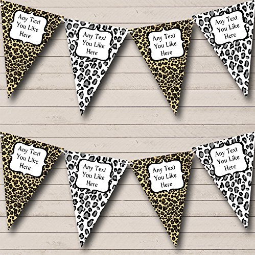 Leopard Print Funky Personalized Birthday Party Bunting Banner Garland ()