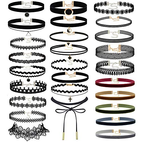 (Choker Set, 40PCS Gothic Rubber Pendant Necklace Chain Henna Chokers Necklaces Stretch Elastic for Women Girls)