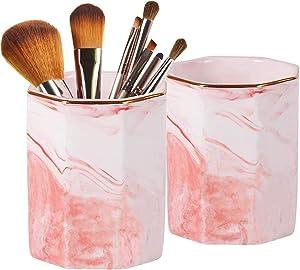 2 Pack Ceramic Pen Holder Stand,Cup for Desk Marble Pattern Makeup Brush Holder for Girls Women,Desk Accessories Holder,Durable Desktop Organizer Pencil Holder Pot Ideal Gift for Office Home (Pink)