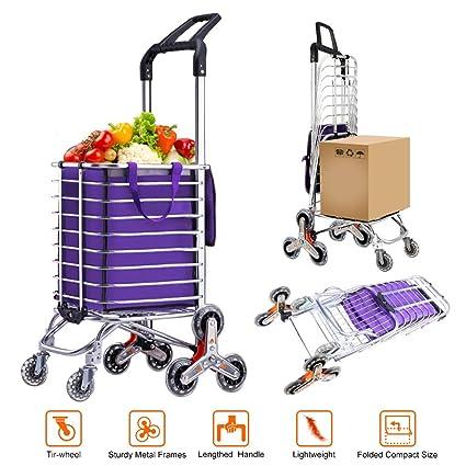 43765afa6894 AmnoAmno Folding Shopping Cart-Stair Climbing Cart- Transit Utility  Cart-Durable Folding Design for Easy Storage (Medium)