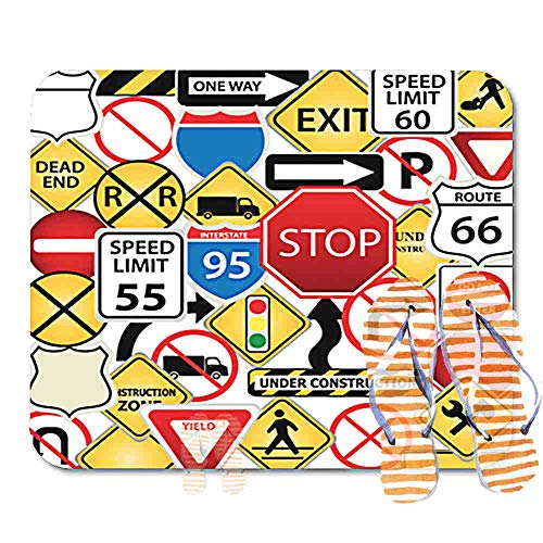 Highway Construction Signs - Bathroom Rugs for Bath Mat Street Collage of Road and Traffic Signs Highway Stop Construction Freeway Exit, Non Slip Bath Rug Velvet Foam Bathroom mat for Shower Floors 15.7X23.6Inch 2F5004