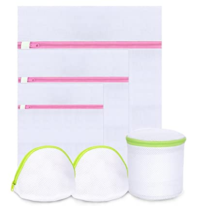 Juego de 6 bolsas de lavandería malla lavado bolsas combinación de dos colores sujetador, la