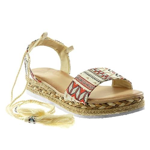 Angkorly - Zapatillas Moda Sandalias Alpargatas Plataforma Correa de Tobillo Mujer Bordado Cuerda Trenzado Plataforma 4 CM: Amazon.es: Zapatos y ...