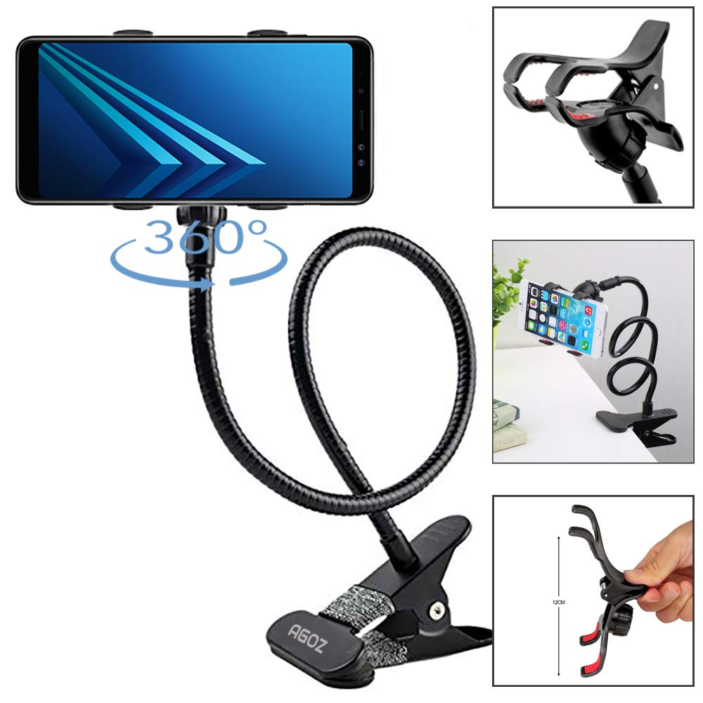 Agoz Cell Phone Clip Holder Gooseneck Clamp Lazy Mount Flexible Bracket Mobile Stand for Bed Office Kitchen for Apple iPhone XS Max,XR,X,8 Plus,7, Samsung Galaxy S10 Note 9 8 S9 S8, LG Stylo 4 (Black) by AGOZ