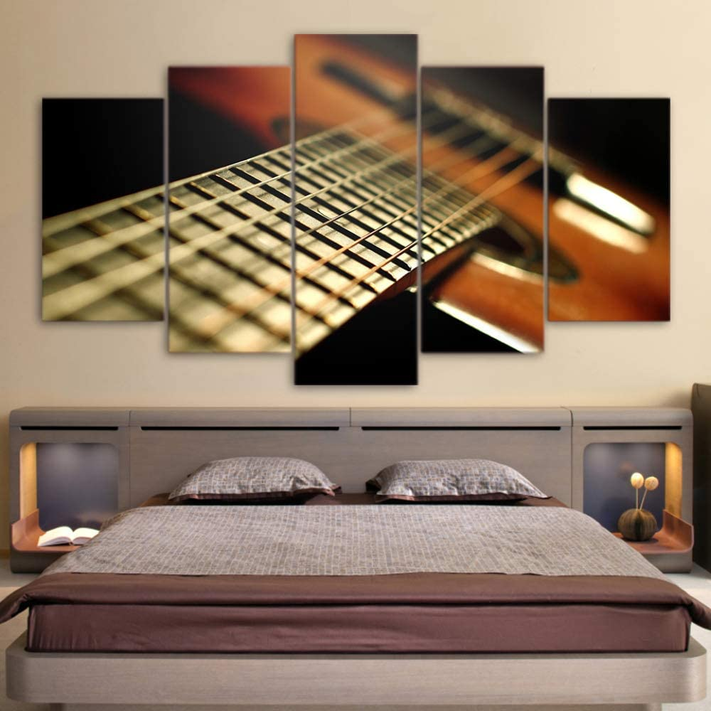 DGGDVP Obra de Arte Impresa en HD 5 Piezas Lienzo Arte Instrumentos Musicales Guitarra Cuerda Pintura Pared Cuadros tamaño de la habitación 2 sin Marco