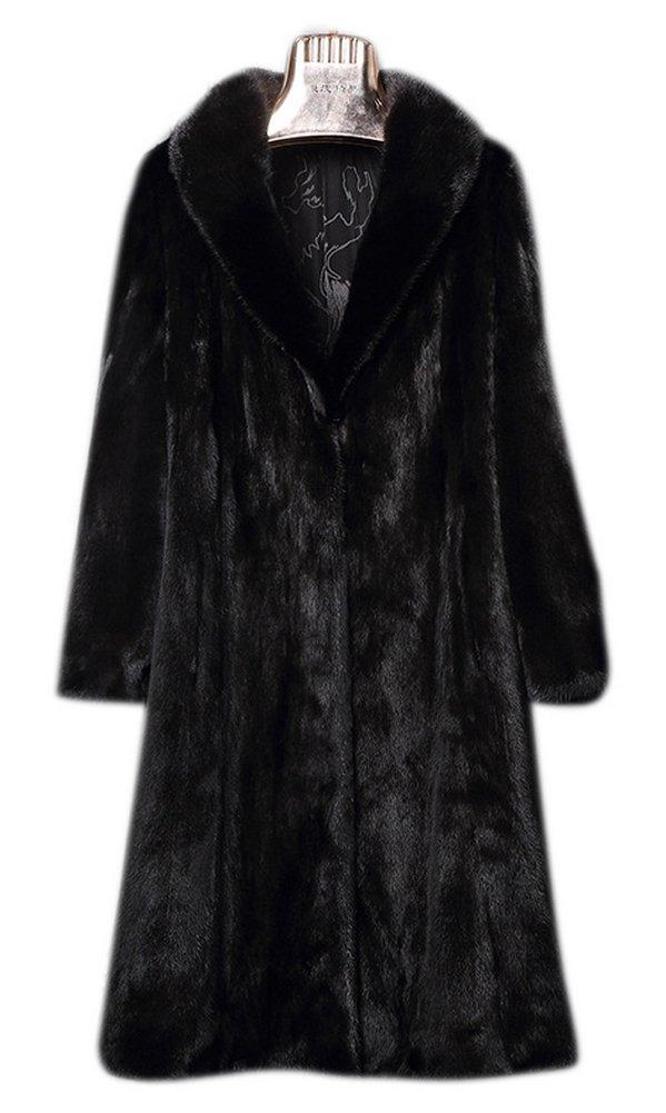 AZIZY Women's Black Luxury Faux Mink Fur Slim Lapel Long Sleeve Thick Warm Maxi Coat 2XL by AZIZY (Image #4)