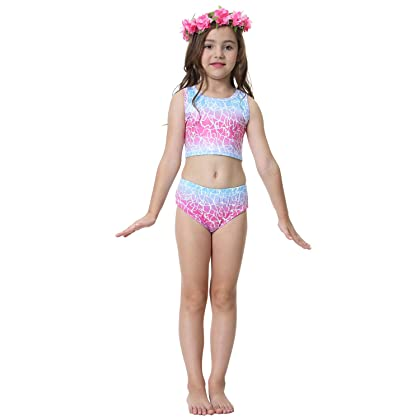 d560a8fc19445 5 Pcs Mermaid Tail Swimsuit Included Monofin and Flower Headband Wet Dry  for Kid …