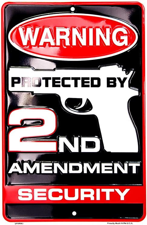 Protecting Americans 2ND AMEND Security *US MADE* Embossed Metal Warning Sign