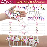 Loving home Pack Of 40 Unicorn Bracelets Wristbands and Keychains Key Ring Decoration Birthday Party Supplies Favors, Novelty Toys And School Classroom Rewards