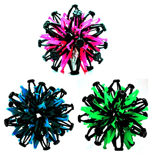 Set of 3 Expandable Sphere Balls Toy~Neon Colored Blue, Pink & Green~Hand Catch Flower Balls~Great Gift for Kids! by Gloworks