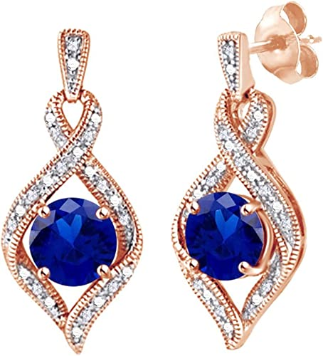 18K White Gold Plated CZ Marquise Cut Blue Sapphire Chandelier Drop Earrings