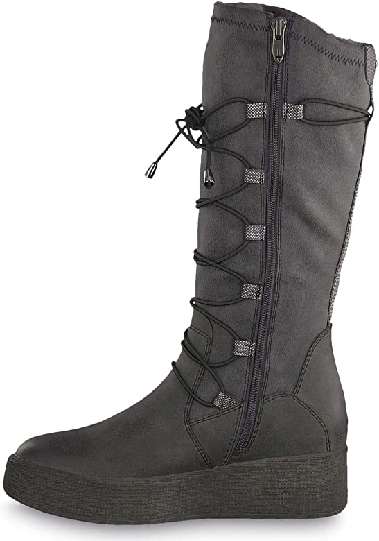 Tamaris Damen Stiefel gefüttert Grau, Schuhgröße:EUR 41