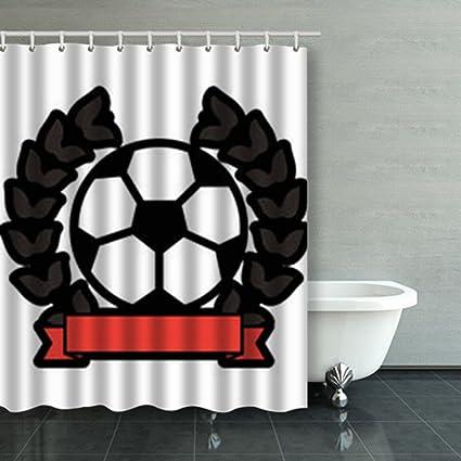 Custom Decorative Shower Curtains Ball Football Soccer Emblem Image Waterproof Polyester Fabric Home Bathroom Decor