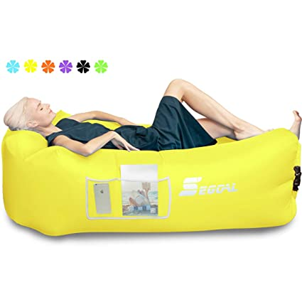 Inflatable Lounger Air Sofa Pouch Inflatable Couch Air Chair Hammock with Pillow Portable Waterproof Anti-Air Leaking for Indoor//Outdoor Camping Hiking Travel Pool Beach Picnic Backyard Lakeside
