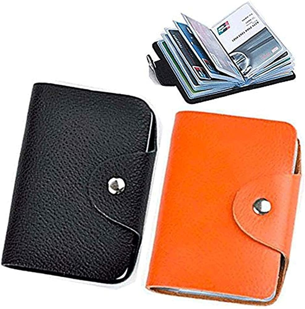 Unisex Small Leather Credit Card Holder Transparent Plastic Protector Sleeve- 2 Pack