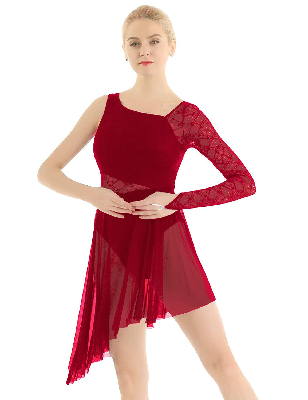 Yeahdor Womens Adult Lace Single Long Sleeve Lyrical Latin Jazz Dance Costume Dress Asymmetric Mesh Skirted Leotard