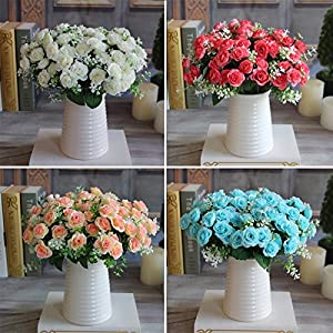 MingXiao Pretty Charming 15 Buds 1 Bouquet Rose Artificial Silk Flower Decoration Home 117