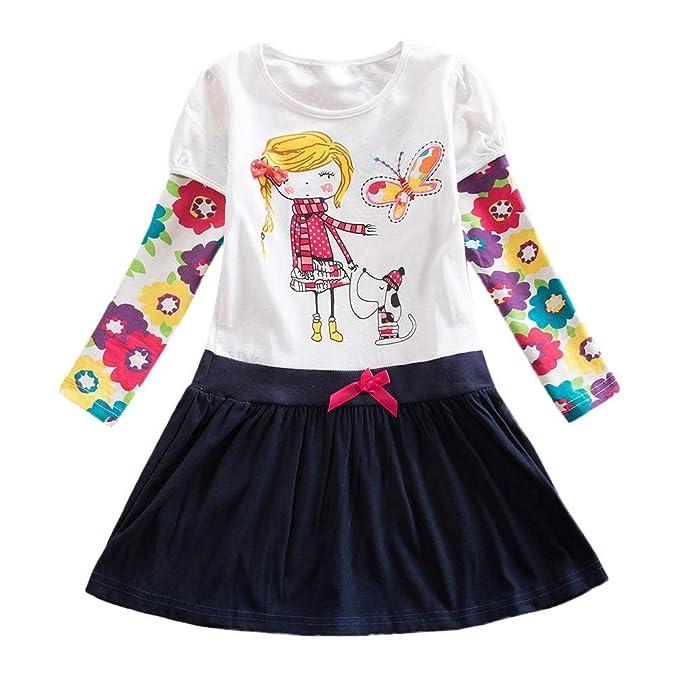 ASHOP Vestidos niña / Vestido de Manga Larga con Estampado ...