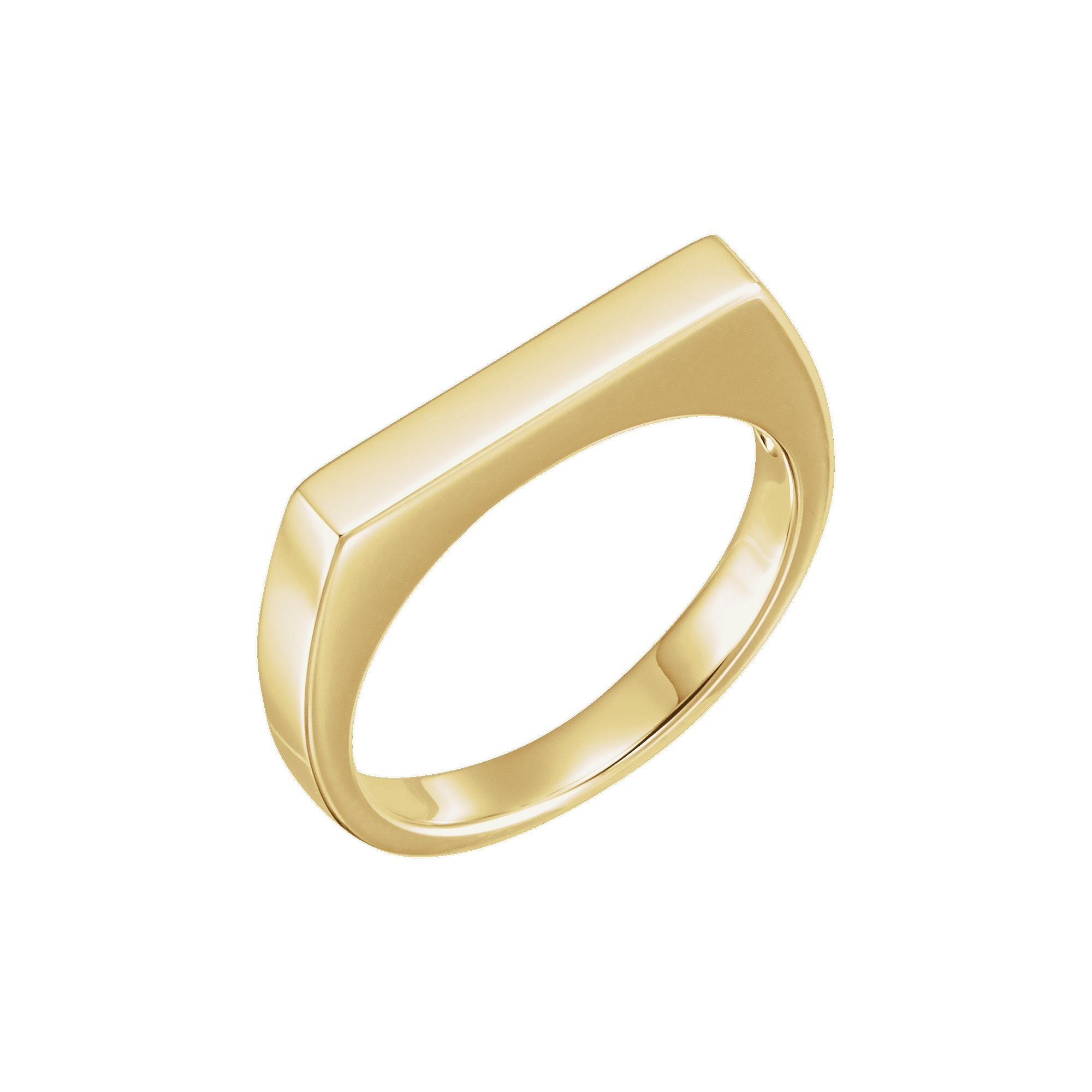 14K Yellow Gold 3mm Rectangular Top Stackable Ring