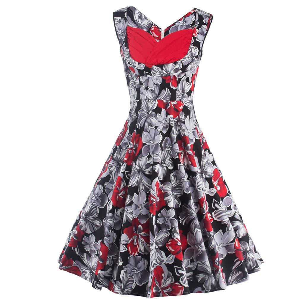 Keliay Bargain Women Retro Bodycon Printing Short Sleeve Evening Party Ball Swing Dress