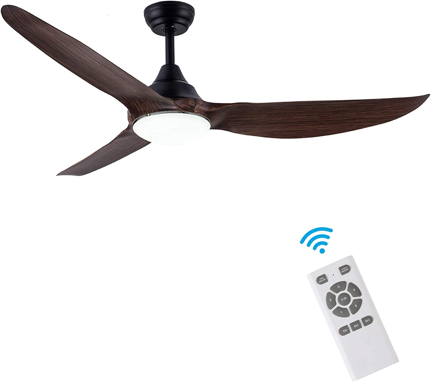 CJOY Ceiling Fan with Light, DC 58 Inch Modern Ceiling Fan with 3 Reversible Blades, 3000K, Remote Controls, 5 Speed, for Indoor/Outdoor