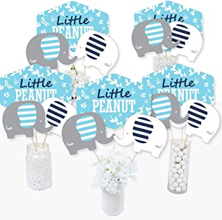 product image for Blue Elephant - Boy Baby Shower or Birthday Party Centerpiece Sticks - Table Toppers - Set of 15
