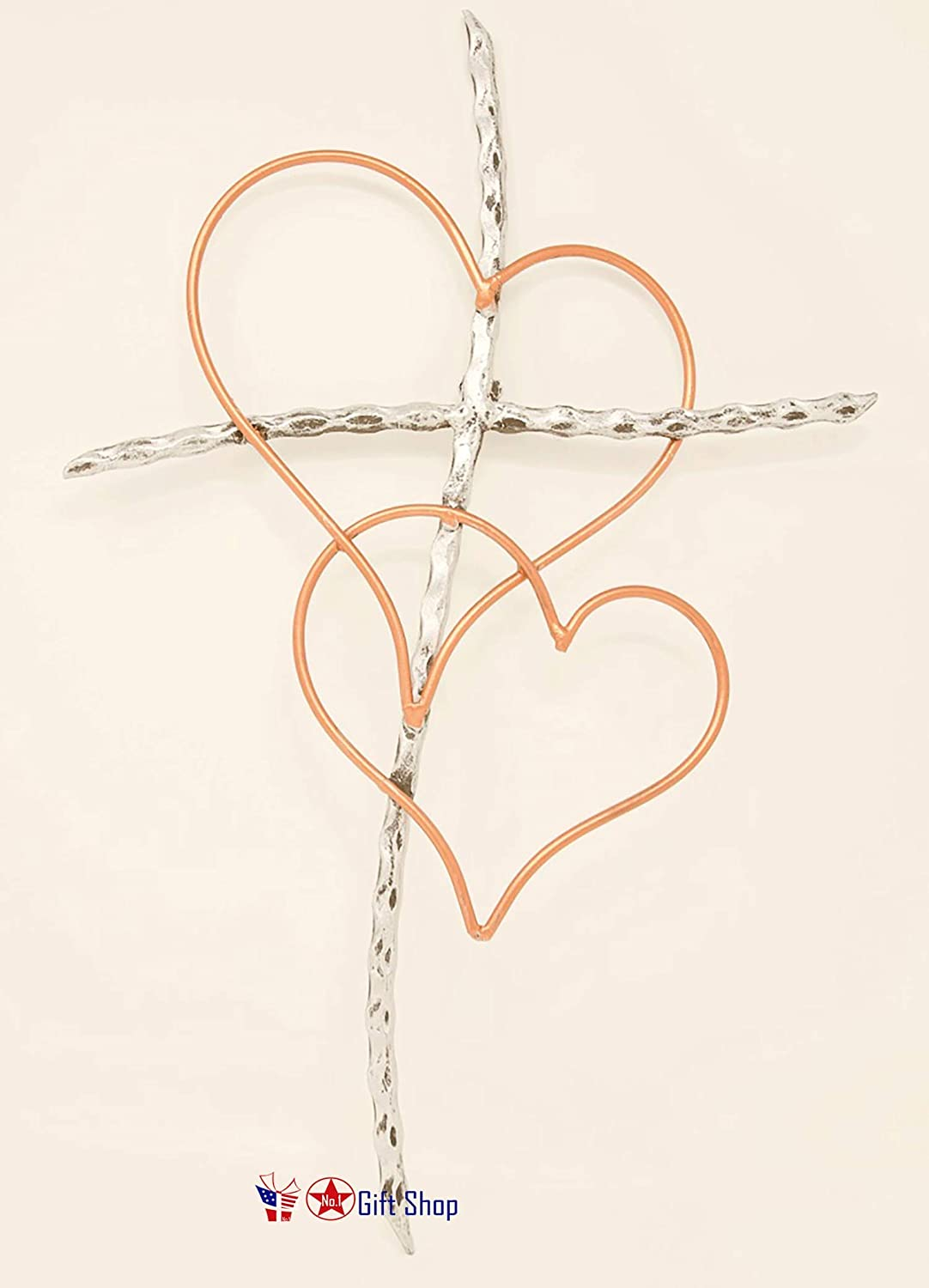 "BestGiftEver Metal Sticks & Heart Wall Cross - Entwined Hearts Decorative Metal Wall Cross. Joined Two Hearts 13.5"" X 19.5"" w/Ready to Hang Hook"