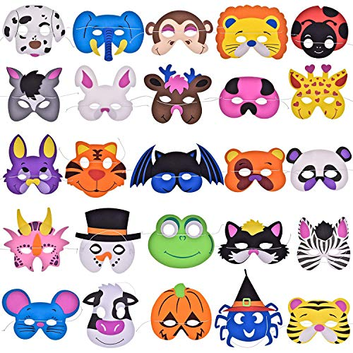 FUN LITTLE TOYS 25PCs Foam Animal Masks Party Supplies Pack Photo Booth, Dress-Up Costume Party Favors More -