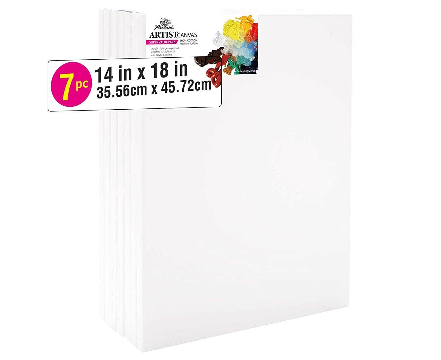 10x20 Inch // 6 Pack 5//8 Inch Profile of Super Value Pack for Acrylics Oils /& Other Painting Media PHOENIX Pre Stretched Canvas for Painting