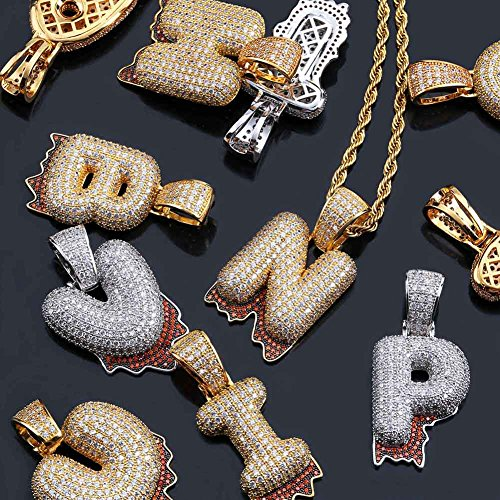 HECHUANG Micropave Simulated Diamond Iced Out Bling Custom Bubble Letters Dripping Initial Pendant with Rope Chain (J Gold, 24) by HECHUANG (Image #5)