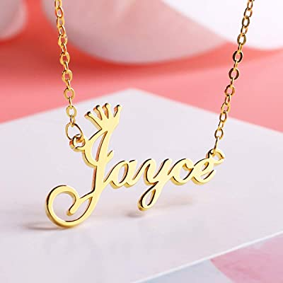 KELORIS PATH Custom Name Necklace Personalized Name Necklace 18K Gold Plated Dainty Pendant for Women Girls Kids Teens Monogram Necklace Gold Jewelry Gift