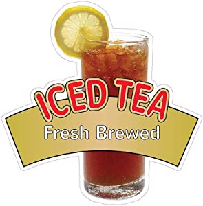 Iced Tea Fresh Brewed Concession Decal Sign Restaurant Food Truck Vinyl Sticker 10 inches