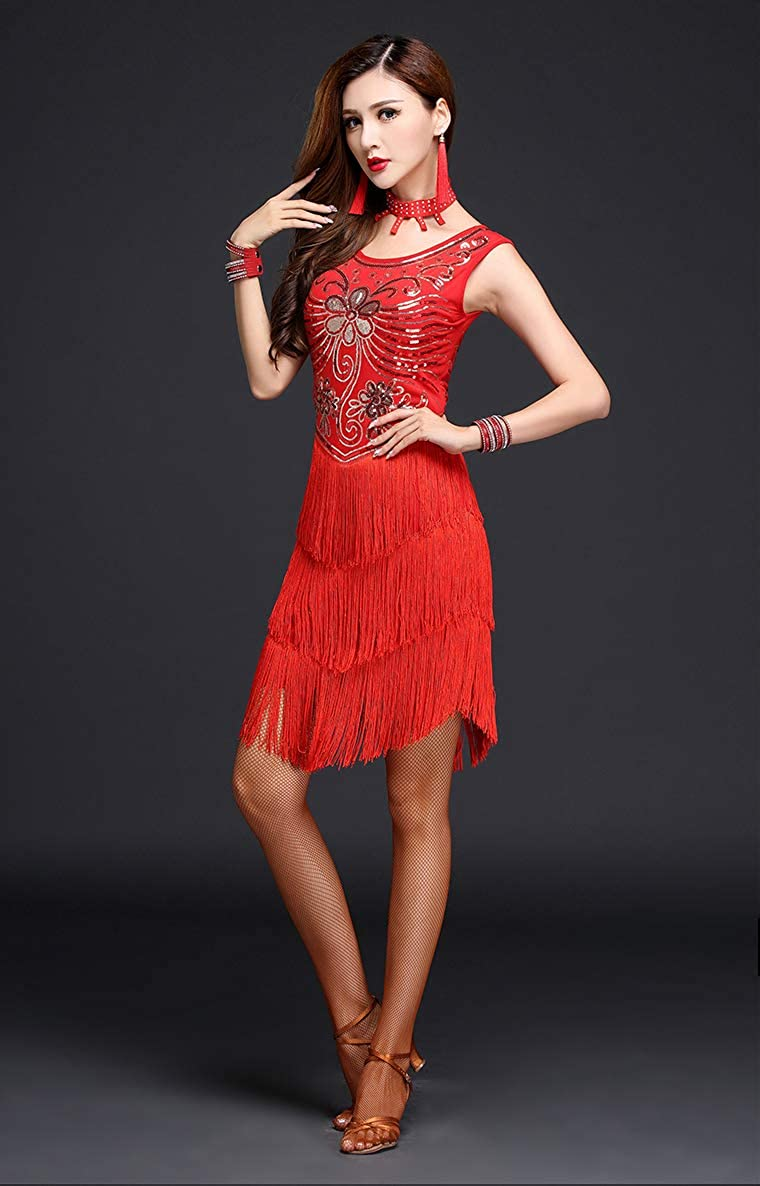 ZX 1920s Gatsby Sequin Deco Fringed Flapper Latin Dance Dress 5 Pieces Outfits